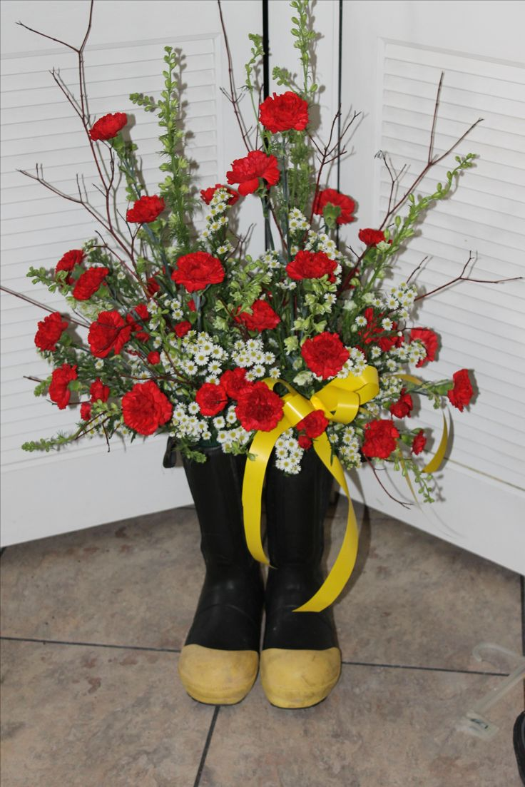 Funeral Floral Arrangement For A Fire Fighter In Boots