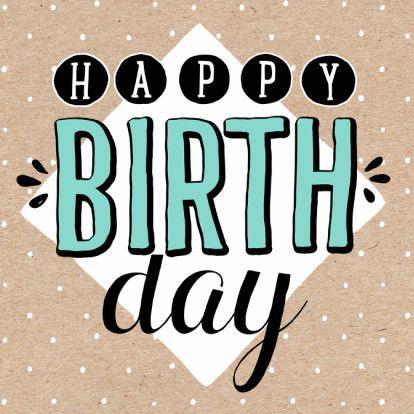 Hippe verjaardagskaart in kraft stijl met bolletjes patroon. Happy birthday! Te vinden op www.kaartje2go.nl