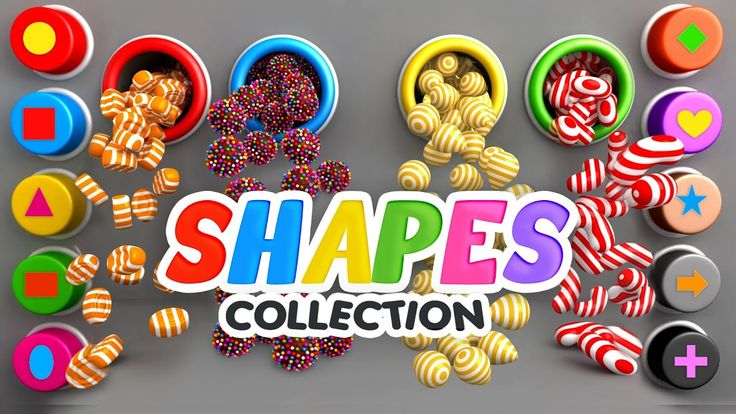 Learn Shapes for Kids with 3D Candy Surprise Eggs - Shapes and Colors Videos Collection