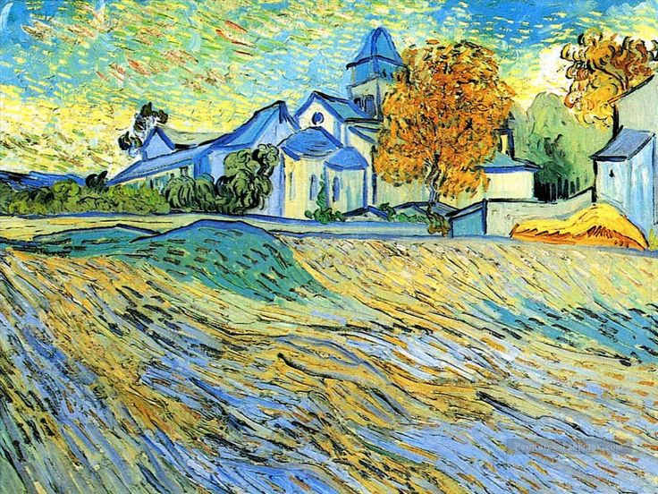 View of the Church of Saint Paul de Mausole Vincent van Gogh https://hemmahoshilde.wordpress.com/2015/03/22/vincent-van-gogh-sunny-fields/ <---You're welcome to this church and field and other fields painted by van Gogh on my art blog :).