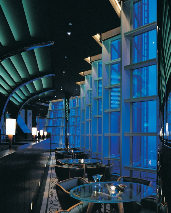 """To get to Grand Hyatt Shanghai's Cloud 9 bar, guests must take the guest elevators from the hotel Lobby on Level 54 to Level 85. From there, two dedicated lifts will transport you to the """"sky lounge"""". #Vacation #Bar #Travel@Hyatt Hotels & Resorts and #HyattFreeTime"""