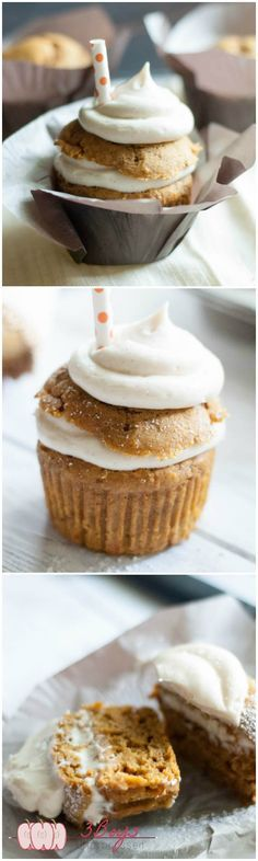 Pumpkin Whoopie Pie Cupcakes.. Two of the best culinary creations come together to form one epic cupcake. Cream cheese filling, pumpkin, and whole wheat? Yes please!