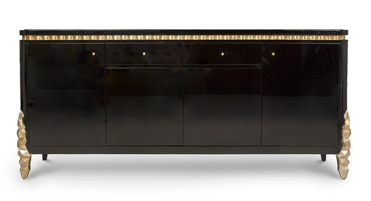 "Media Cabinet. Company: Christopher Guy. Description:  Featuring a wonderful interpretation of the Christopher Guy Silver Ice design usually seen on candlesticks and lighting, these front legs add panache and sophistication to this elegant piece. Beautiful molding separates the top from the base and the interior of the storage compartments are finished in the new Valentino Red lacquer. Finish: Black Lacquer / Italian Silver. Measurement: Width 79"" x Depth 24"" x Height 35"""