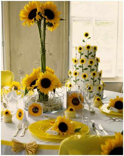 tall and short sunflower centerpiece great for an event/ party