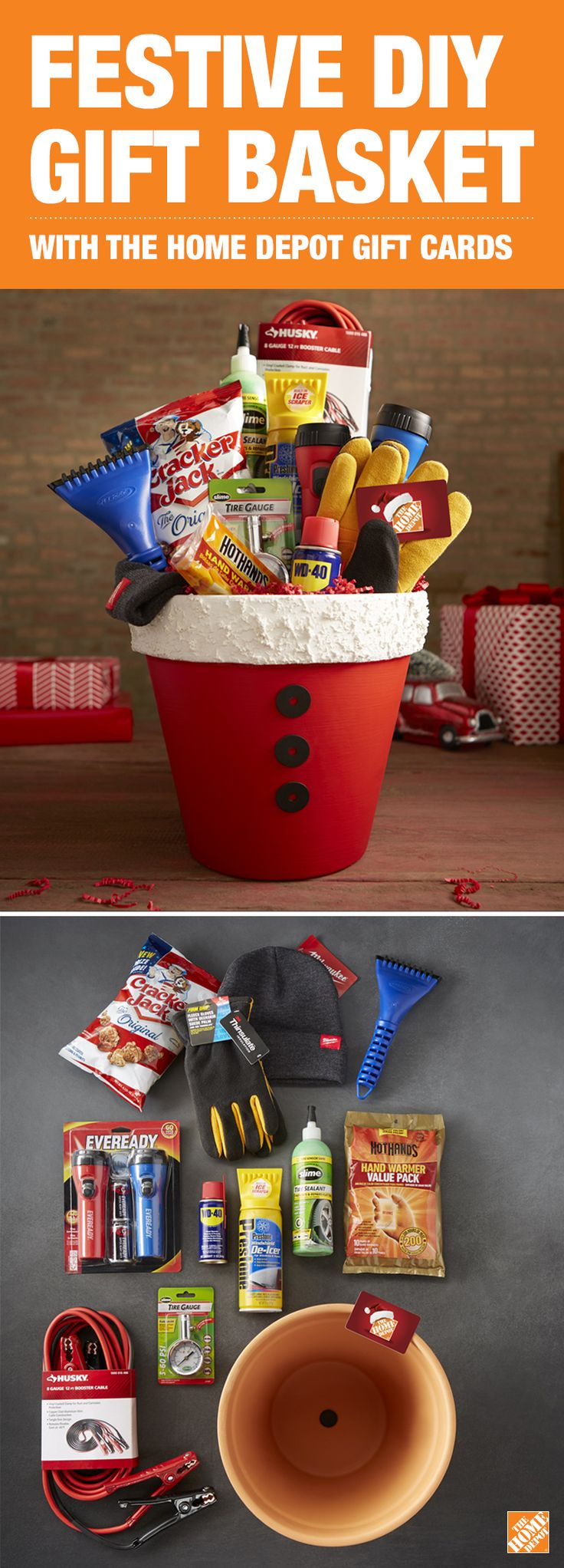 The Home Depot gift card in Santa's Winter Survival Kit will make weathering any winter storm easier. Click through to purchase your gift card now!  • Prime and paint a 12-in. terra cotta clay pot. • Paint three 1 1/4  in. stainless steel washers black. • Spray the rim of the pot with popcorn ceiling texture. • Hot glue the washers to the front of the pot in a vertical row. • Fill the pot with winter survival items from The Home Depot. • Don't forget the most important part: the gift card!