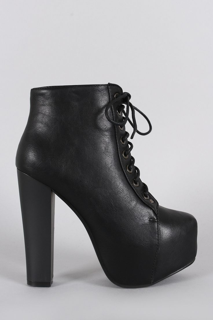 Chunky Heel Lace Up Bootie
