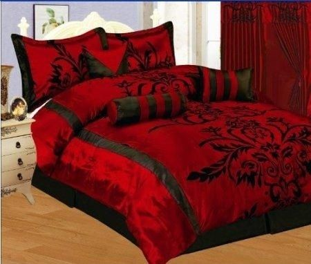 I found '7 PC MODERN Black Burgundy Red Flock Satin COMFORTER SET / BED IN A BAG - QUEEN SIZE BEDDING' on Wish, check it out!