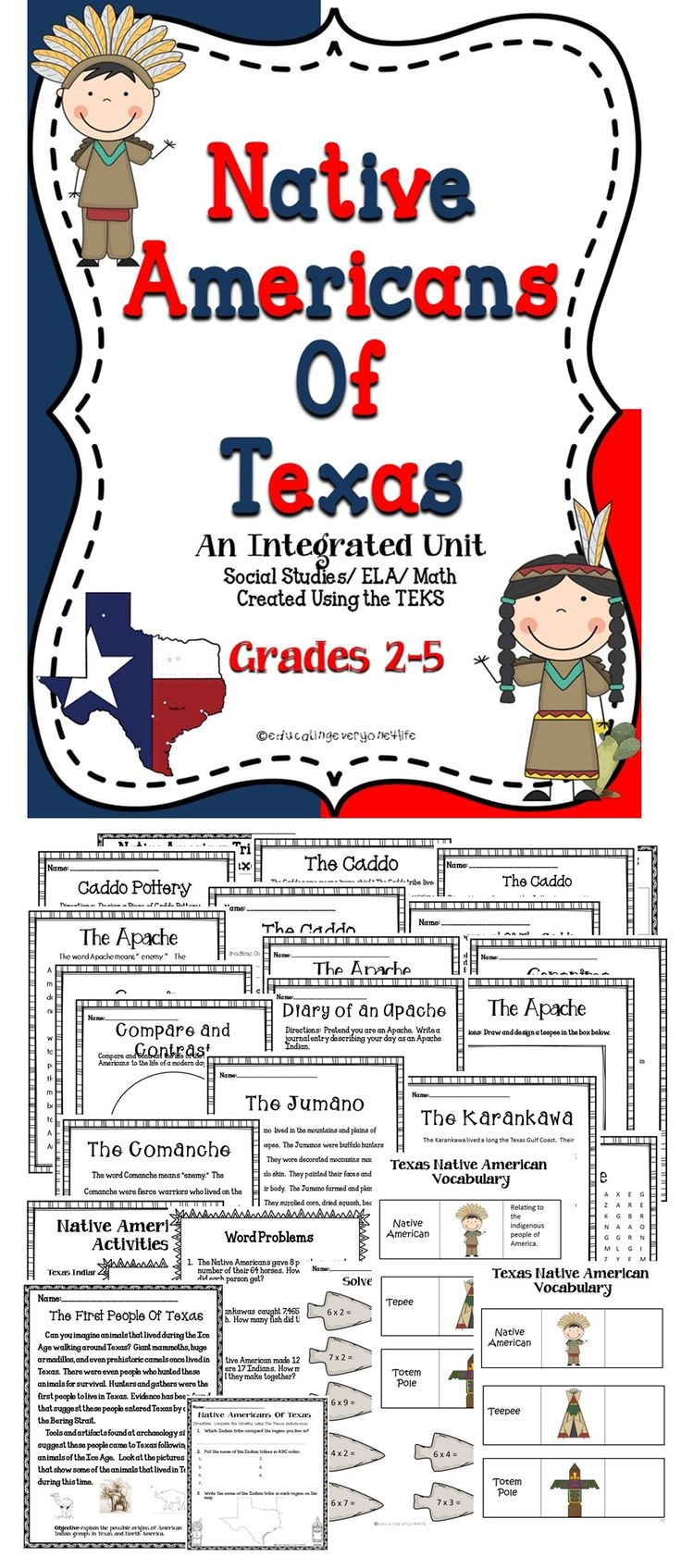Native Americans Of Texas - A great comprehensive unit about the Native Americans of Texas. #reading #teaching #tpt