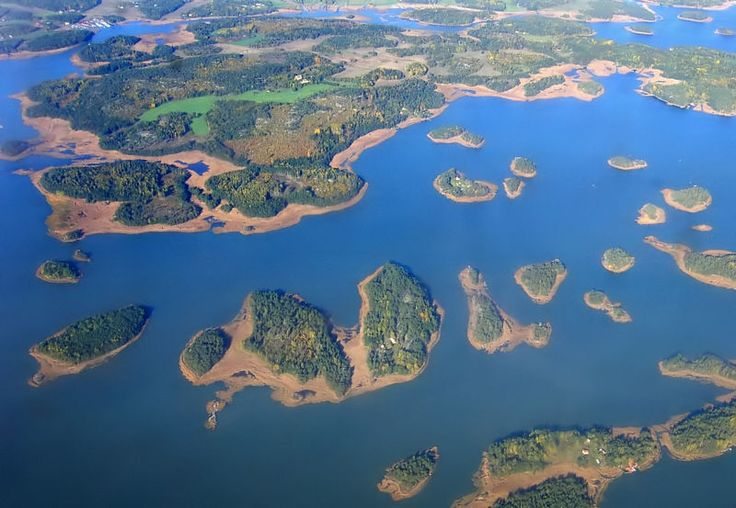 An aerial photograph of Turku Archipelago, Finland. In Finland there is 187 888 lakes (larger than 500 square meters) and 98 050 islands.