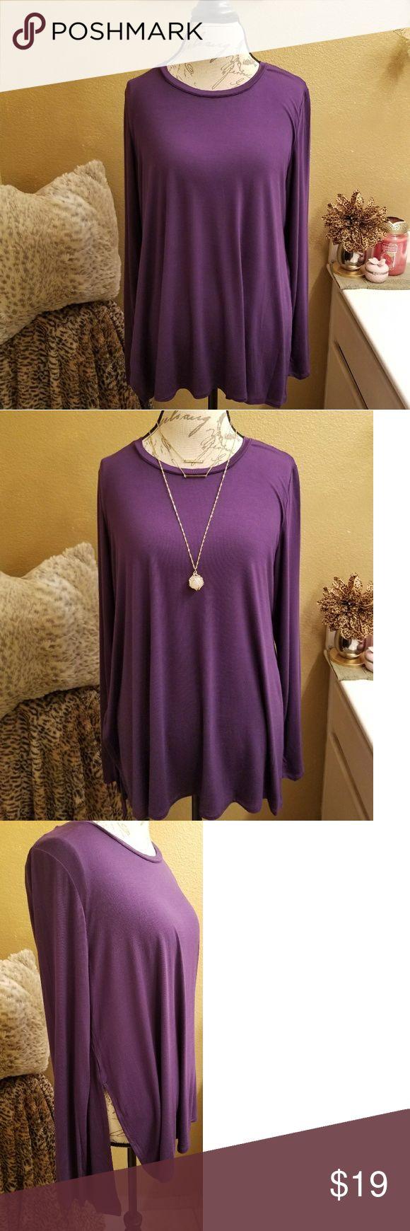 LOGO Top Lori Goldstein Deep Purple Long Sleeve Top. Spit Side styling. 95% Rayon 5%Spandex. Length: 28 1/2 inches  Bust: 21 inches. LOGO Tops Tees - Long Sleeve