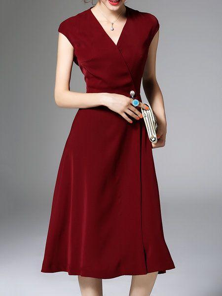 Wine Red Elegant Polyester Plain Pockets Midi Dress. #StyleWe #Zeraco #midi_dress #wine_red #polyester