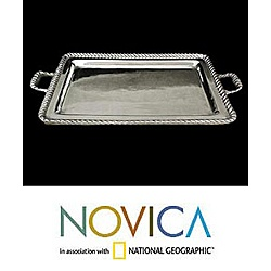 @Overstock - Aluminum tray is features a highly polished surface   Serving tray is handmade in Mexico   Dining tray is cast using traditional sand casting techniques http://www.overstock.com/Worldstock-Fair-Trade/Moorings-Aluminum-Tray-Mexico/3885081/product.html?CID=214117 $84.99