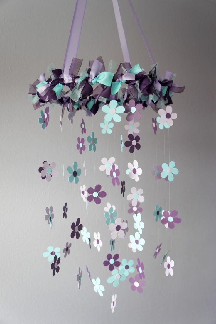 Plum & Aqua Flower Nursery Mobile - Baby Girl Nursery Decor, Baby Shower Gift