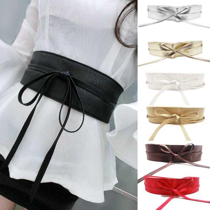 Nuevas mujeres de moda cinturón de cuero suave ancho auto Tie Wrap Around banda de la cintura de la correa del vestido Y1