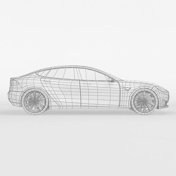 3d model of a tesla model s on Behance