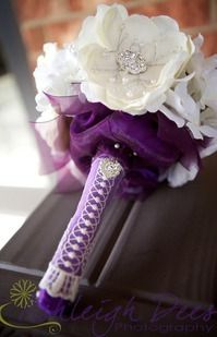 White and purple hand tied bouquet