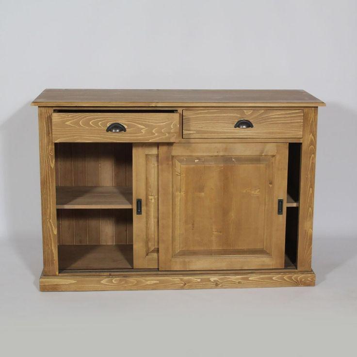 buffet bois cir miel 2 portes coulissantes 2 tiroirs made in meubles aaaxxx meubles. Black Bedroom Furniture Sets. Home Design Ideas