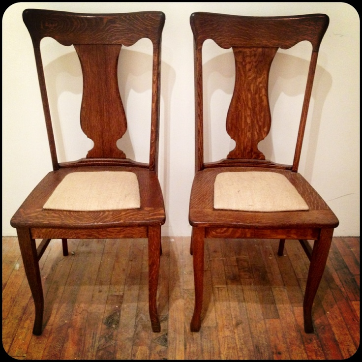 Timber And Cloth FOR SALE Tiger Oak Fiddle Back Dining Chairs