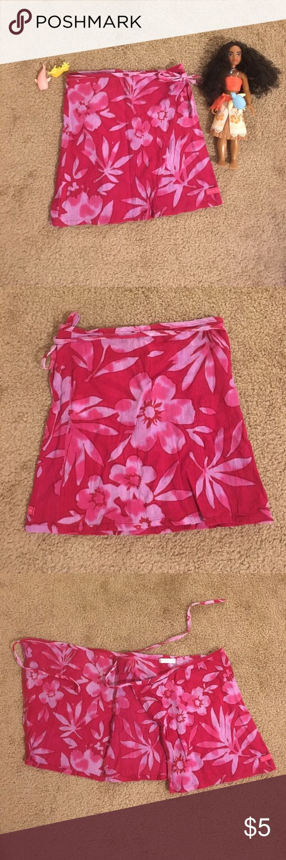 Girls Sarong Style Skirt  Beautiful sarong style wrap skirt for girls. Gorgeous vibrant fuchsia color. Tags says 3 years. My daughter wore it as a swim coverup. **Note toys not for sale.** Sucre D'Orge Swim Coverups