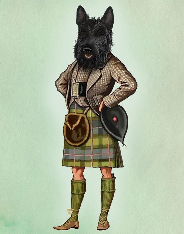 Scottie Dog in Kilt 8X10 inch Art Print Poster, Dog Picture, Scottish Terrier £16.00
