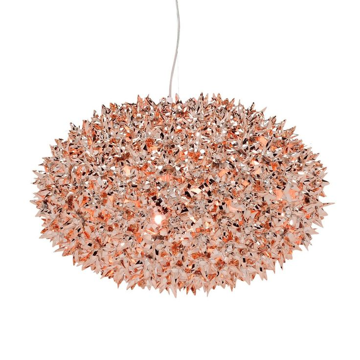 A glistening display of modern form, the Bloom pendant mixes an inventive use of materials with all the complexity of a unique hand crafted piece. A complex structure of polycarbonate flowers produces the bulbous silhouette of this spectacular pendant, with intricate levels of detail imitating cut glass crystal.