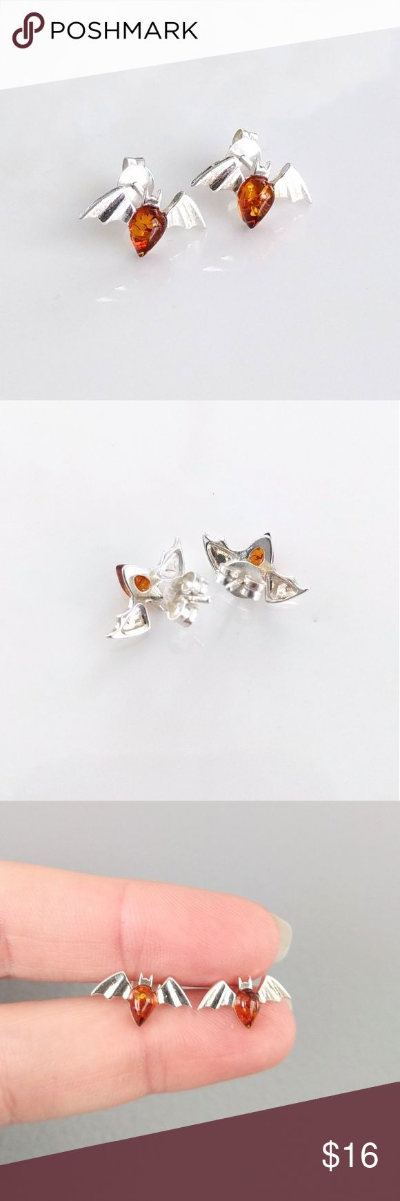 Sterling Silver Baltic Amber Bat Stud Earrings An Unused Piece From My  Personal Collection