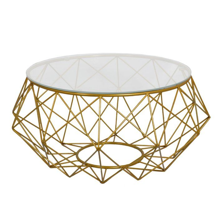 Statement Geometric Style, This Large Glass Topped Diamond Wire Coffee Table  Has A Diamond