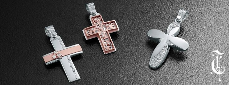 σταυροί βάπτισης, βαπτιστικοί σταυροί Τριάντος, gold crosses jewelry κωδικοί προϊόντων από αριστερά :1.1.1220, 1.2.1104 και 1.2.1105