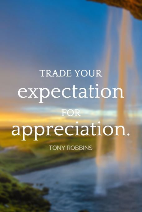 """Trade your expectation for appreciation."" - Tony Robbins on the School of Greatness podcast"