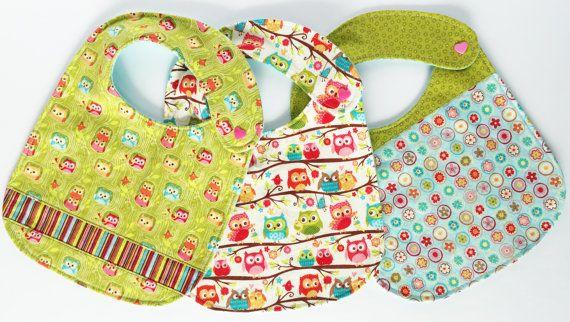 Baby Bib Set Set of 3 Happy Flapper Green by SewCutiePieBoutique