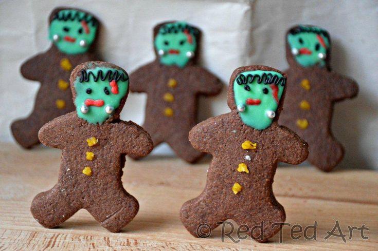Easy halloween baking ideas: FrankensteinHalloween Baking 2 Jpg, Zombies Cookies, Halloweenbaking, Baking Ideas, Gingerbread Cookies, Halloween Treats, Easy Halloween, Frankenstein Cookies, Halloween Cookies