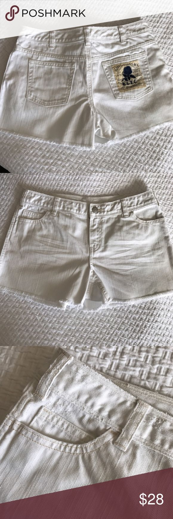 Ralph Lauren White denim Shorts. Ralph Lauren Distressed white denim Shorts. Made for Polo Ralph Lauren in Europe. Size 16 but please take a look at the photos with measurements. 100% Cotton. Great condition. Clean, no rips, no stains❌no trades❗️ Ralph Lauren Bottoms Shorts