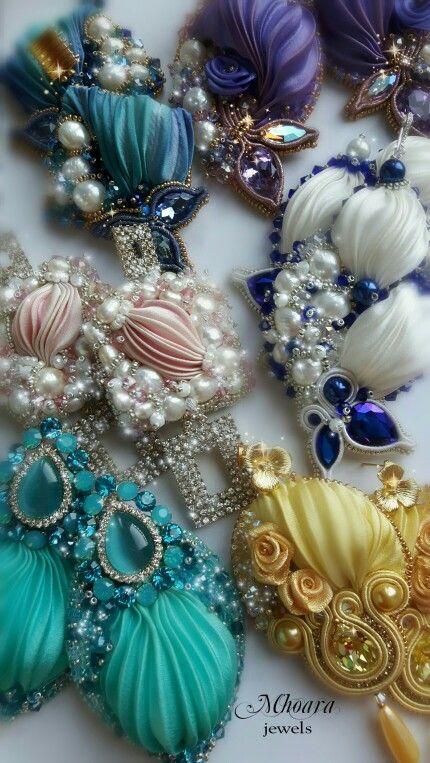 Shibori silk earrings designed by Mhoara Jewels