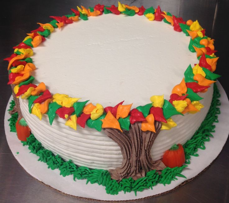 Autumn tree round DQ ice cream cake