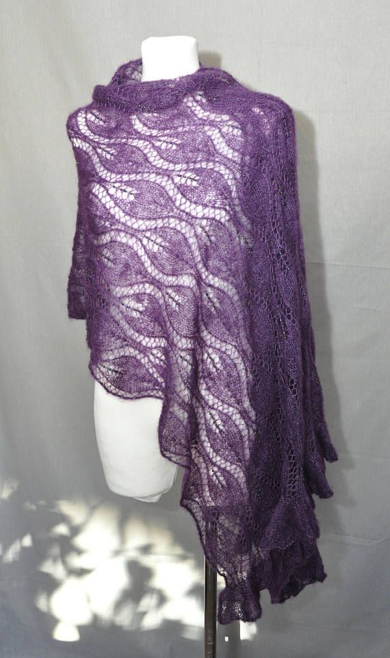 Purple hand knit lace shawl with glass beads Plum luxury #LaceShawl #PlumShawl #Purple #HandKnit