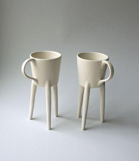 Giraffe Cups 2x Ceramic Art Design