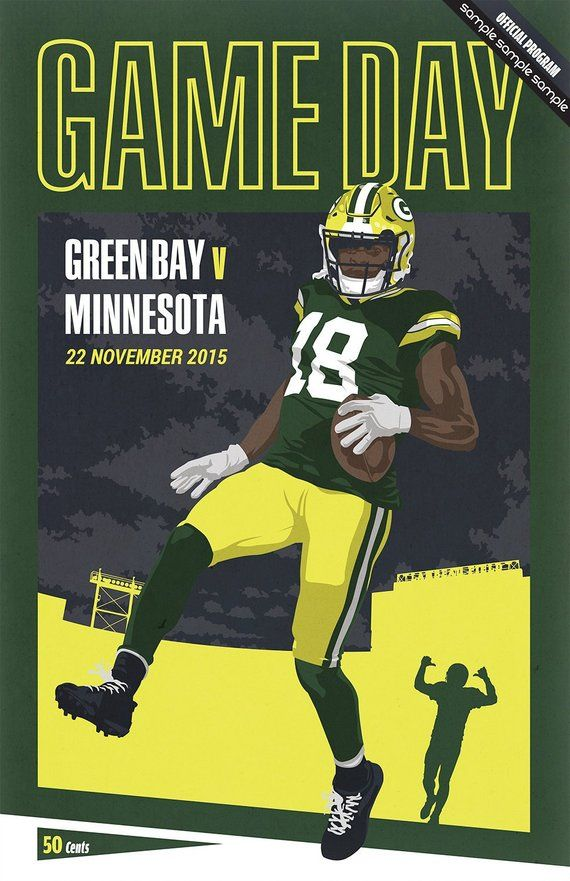 Nfl Retro Program Pastiche Green Bay Packers 17 X 11 Digital Print Green Bay England V South Africa Green Bay Packers