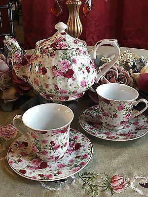 Red Rose Chintz Tea Set: 6 Cup Porcelain Tea Pot and 2 Adult Cups and Saucer