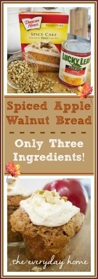 ONLY THREE INGREDIENTS!!! |  Spiced Apple Walnut Bread… in a Jar | The Everyday Home | www.everydayhomeblog.com | #MasonJarMonday