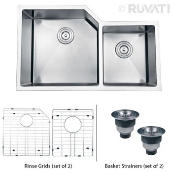"Ruvati RVH8150 Undermount 16 Gauge 33"" Kitchen Sink Double Bowl…"