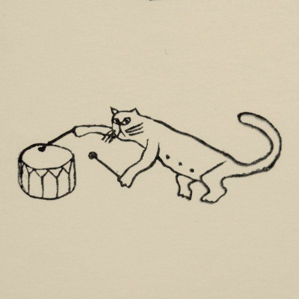Rubber Stamp №124 — Dinosaur-Cat Drumming