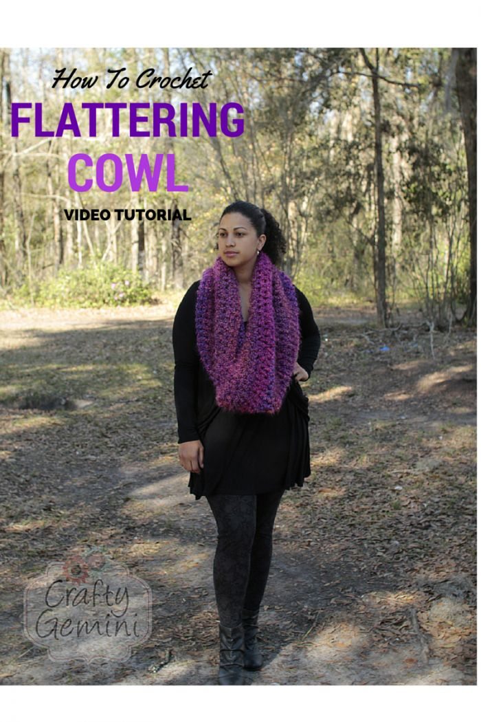 Crafty Gemini | How to Crochet- Flattering Cowl Video Tutorial and Giveaway | :