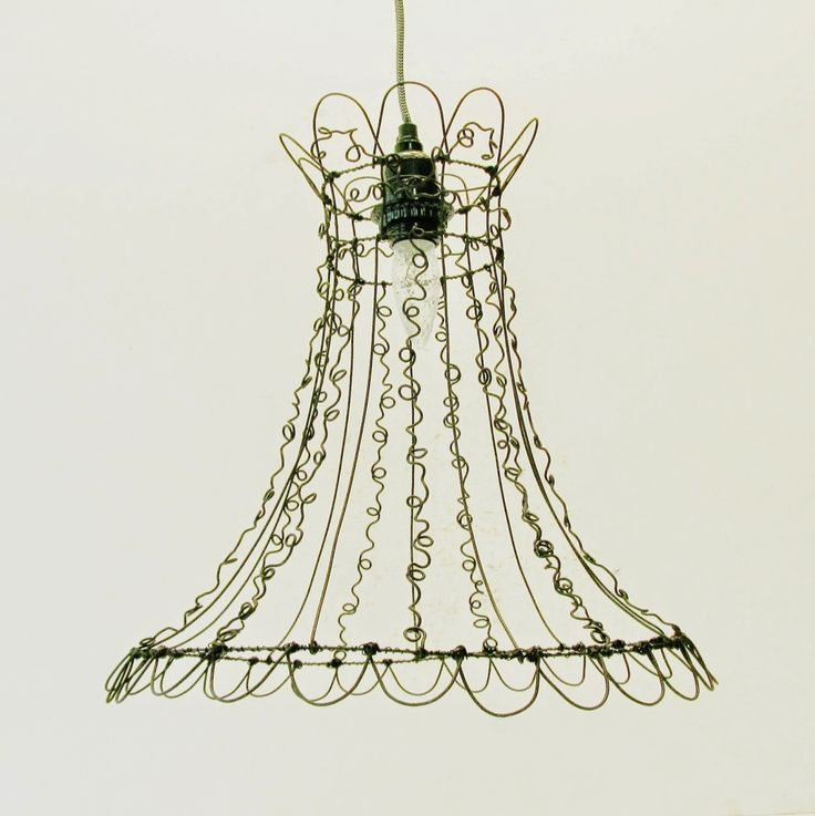 147 best lmparas images on pinterest lamp shades lampshades and unique curly wire art open design lampshade hanging light with top and bottom scallops greentooth Images