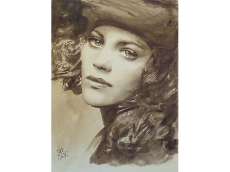 Peinture aquarelle originale portrait actrice Marion Cotillard couleur sépia : Peintures par mgdecors