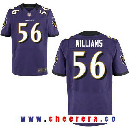 Men's 2017 NFL Draft Baltimore Ravens #56 Tim Williams Purple Team Color Stitched NFL Nike Elite Jersey