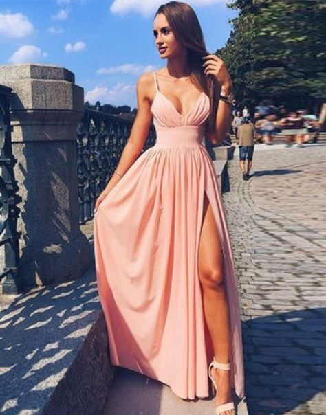 Pink Spaghetti Strap V Neck Prom Dress,Simple Long Evening Dress