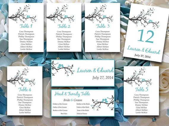 Template for wedding seating chart