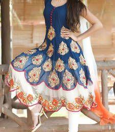 Buy Styles Closet Blue embroidered georgette semi stitched salwar with dupatta anarkali-salwar-kameez online
