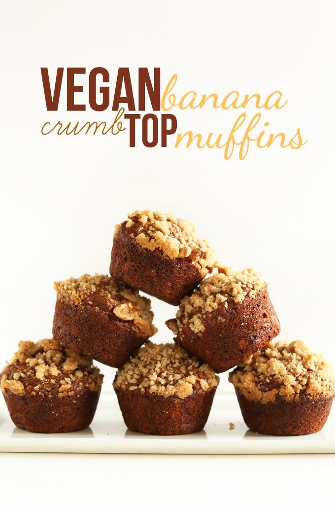 Vegan Banana Crumb Top Muffins! minimalistbaker.comMuffin Recipes, Vegan Bananas, Crumb Tops, Tops Muffins, Crumb Muffins, Muffins Recipe, Minimalist Bakers, Bananas Crumb, Baking Soda