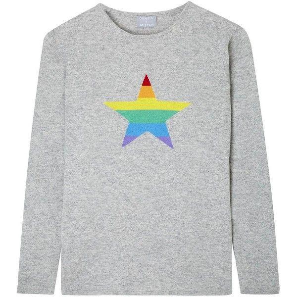 Orwell + Austen Cashmere - Stars & Stripes Rainbow Cashmere Sweater... ($285) ❤ liked on Polyvore featuring men's fashion, men's clothing, men's sweaters, mens striped sweater, mens star wars sweater and mens cashmere sweaters